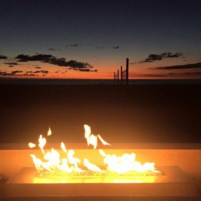 Strand firepit sunset